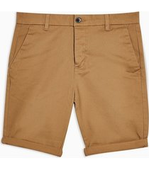 mens brown rust stretch skinny chino shorts