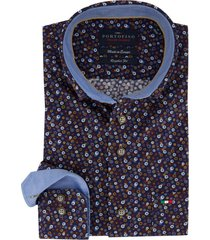 donkerblauw overhemd portofino print regular fit