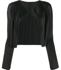 pleats please issey miyake cropped micro-pleated jacket - black