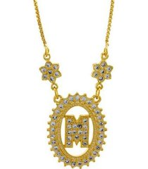 colar horus import letra m zircônia banhado ouro 18k feminino