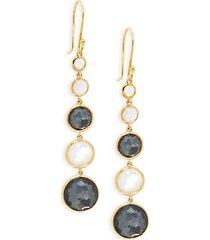 lollipop 18k yellow gold & gemstone drop earrings
