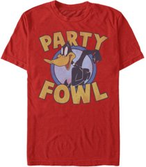 fifth sun looney tunes men's daffy duck party fowl short sleeve t-shirt
