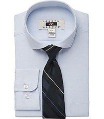 joseph abboud boys white & blue micro check dress shirt & tie set