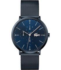 lacoste men's swiss moon blue stainless steel mesh bracelet watch 40mm