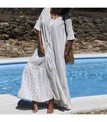 zanzea vestido largo largo con detalle de encaje de manga corta para mujer vestido largo de vacaciones de verano -blanco