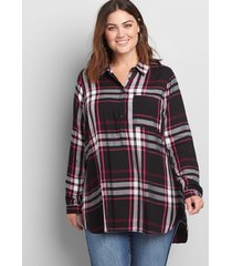 lane bryant women's plaid popover tunic 12 black and purple plaid