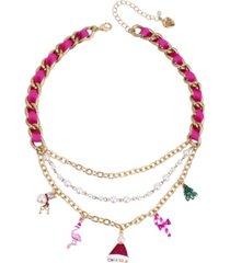 "betsey johnson festive flamingo mixed charm necklace,16"" + 3"" extender"