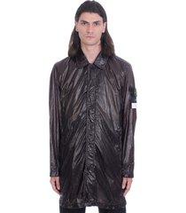stone island coat in black polyamide