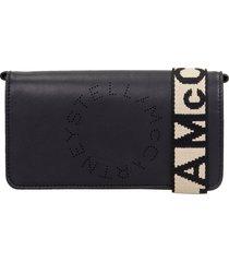 stella mccartney clutch in black faux leather
