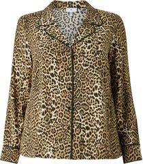 leopardmönstrad blus med lång ärm