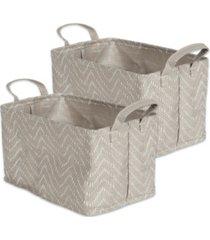 design imports polyethylene coated woven paper laundry bin tribal chevron stone rectangle medium set of 2