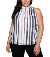 belldini black label plus size tie neck halter top