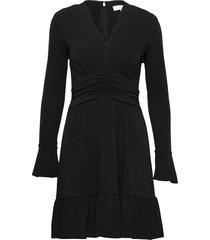 elv shirred mini drs korte jurk zwart michael kors
