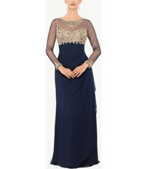 xscape embellished petite ruched gown