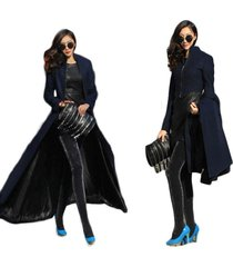 women's detachable slim winter super long skirt stand collar woolen coat s 2xl