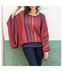 striped kimono sleeve sweater, 'cuzco dance' (peru)
