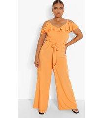 plus culotte jumpsuit met franjes en uitgesneden schouders, orange