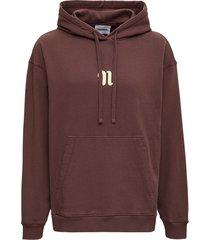nanushka brown cotton hoodie with logo