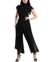 msk smocked-trim chiffon jumpsuit