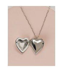 amaro feminino colar relicário coração vintage, prata