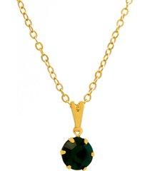 gargantilha horus import ponto luz banhado ouro amarelo 18 k - 1060153 - verde esmeralda - tricae