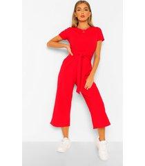 wrap waist short sleeve wide leg jumpsuit, red