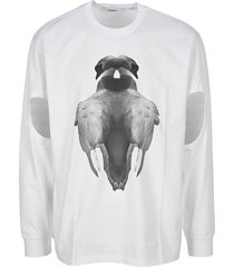 burberry london swan print cut-out t-shirt