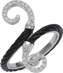 alor women's 18k white gold, blacktone stainless steel cable & diamond ring - size 6.5