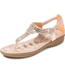 sandalias con cuentas de diamantes de imitación en forma de t mujer-rosa