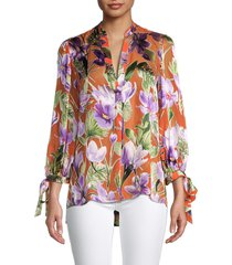 alice + olivia by stacey bendet women's sheila floral blouse - coral - size xs