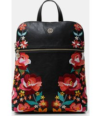 synthetic leather embroidered floral backpack - black - u
