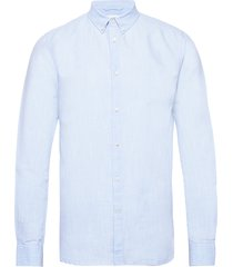 larch ls linen shirt - gots/vegan overhemd business blauw knowledge cotton apparel