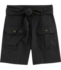 shorts i linneblandning, med knytskärp