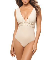 amoressa by miraclesuit women's romancing the stone lupita one-piece swimsuit - new moon - size 8