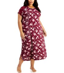 charter club plus size short sleeve long nightgown, created for macy's