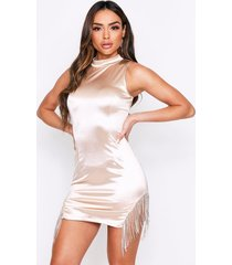 diamante tassel high neck satin dress, nude