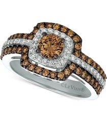 le vian chocolatier diamond halo ring (1-1/4 ct. t.w.) in 14k white gold