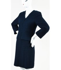 chanel blue boucle tweed skirt suit blue sz: m