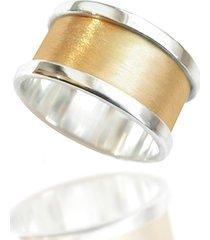 obrączka srebro 925, szeroka, matowa, pozłacana