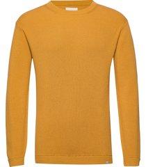 pedersen gebreide trui met ronde kraag geel minimum