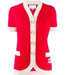 gucci short-sleeve knitted cardigan - red