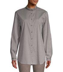 lenno metallic stripe poplin blouse