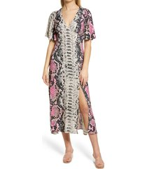 afrm zelda open back midi dress, size x-small in pink placement snake at nordstrom