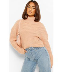 cropped roll neck sweater, rose
