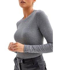 women's 4th & reckless maye long sleeve bodysuit, size x-small - grey
