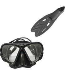 máscara de mergulho black nautika + par de nadadeiras spartan
