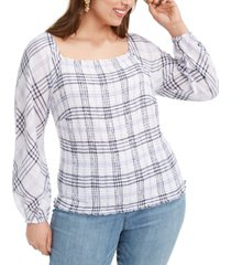 inc plus size smocked plaid top, created for macy's