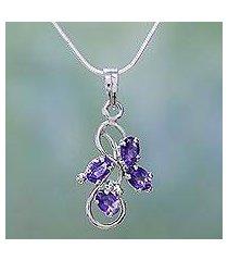 amethyst pendant necklace, 'shining mauve' (india)