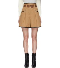 belted contrast trim canvas paper bag shorts