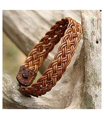 braided leather wristband bracelet, 'braided paths in light brown' (thailand)